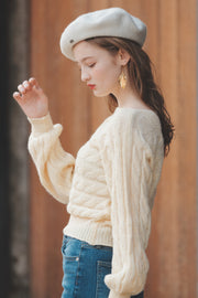 【Pimtha】 Boat Shoulder Cable-Knit [mocha/ivory]