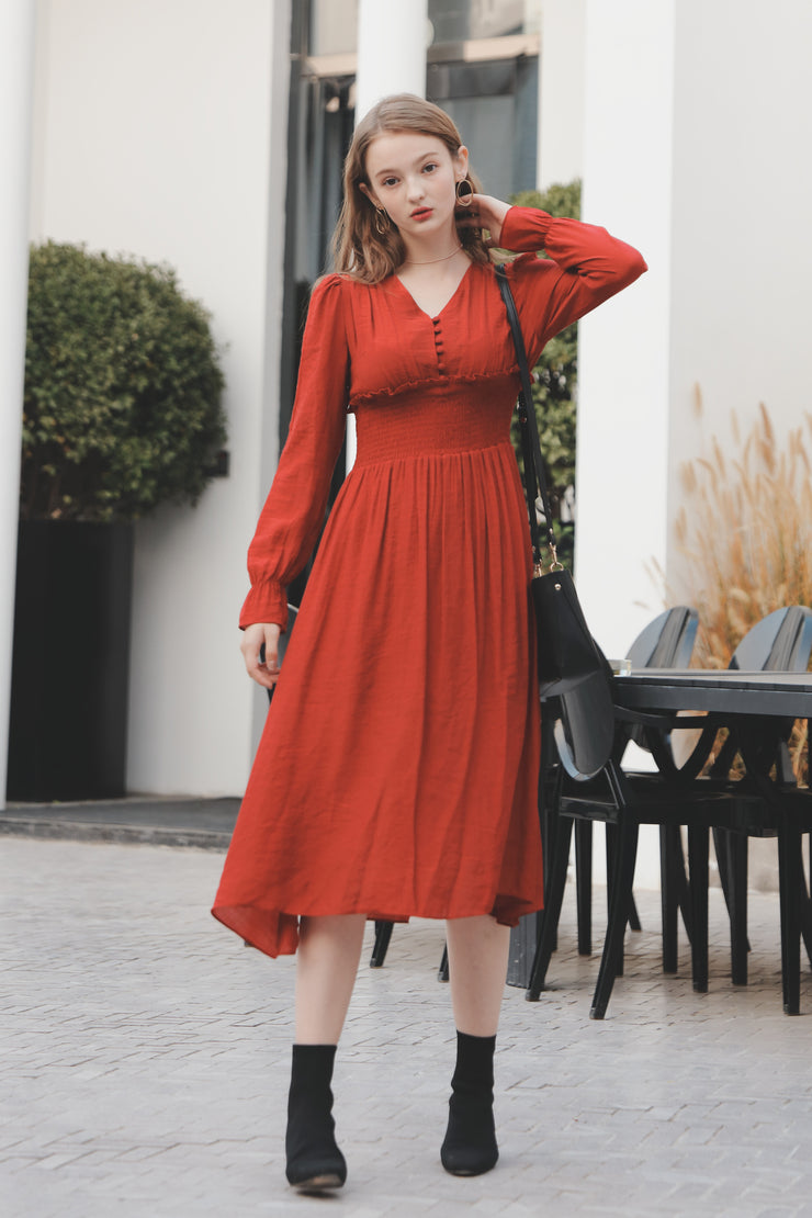 【Pimtha】Gather Dress [red/black]