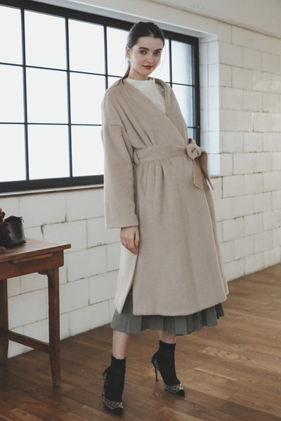 Fur Gown Coat [Beige/Brown]