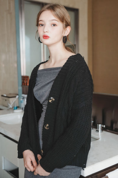 Rough Knit Cardigan [Ivory/Black]