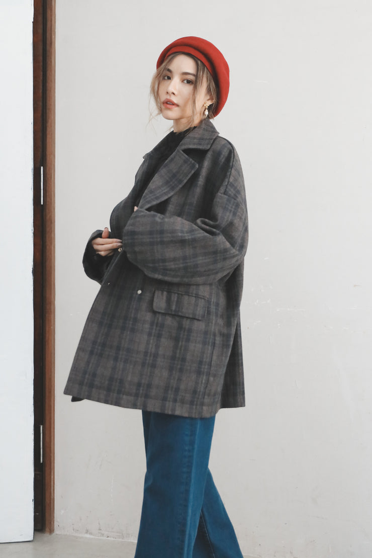 Plaid Oversized Jacket [Grey]