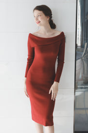 【Anastashia】Flap Shoulder Knit One-Piece [Red/Brown]