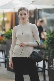 Scalar Knit Tops [Black/Beige]