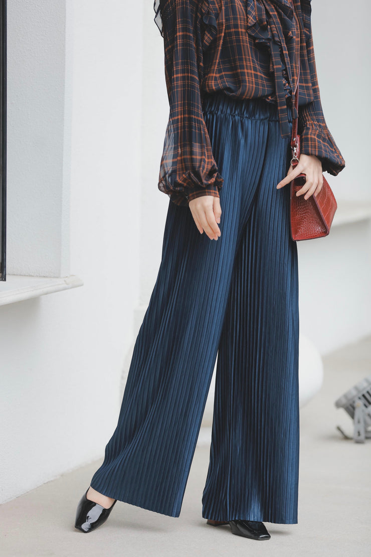 【Pimtha】 Satin Pleated Pants