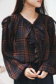 【Pimtha】Sheer Check Blouse [black/navy]