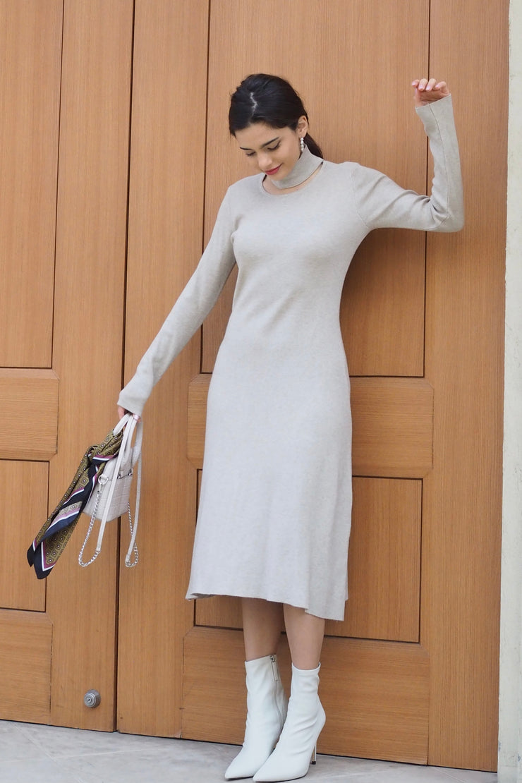 Choker Knit Dress【Beige/Black】