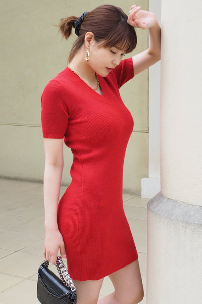 Knit Short-Sleeved Dress 【red/black/pink】
