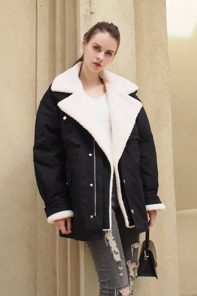Faux Fur Military Coat【beige/black】