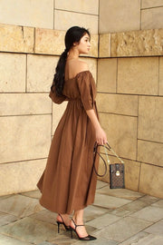 Autumn flare dress【green/brown】