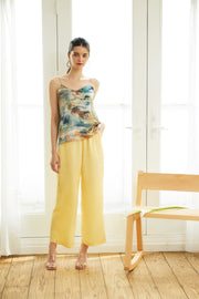 Colored Satin Pants 【pink/yellow】