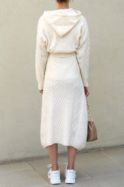 Hoody knit skirt set