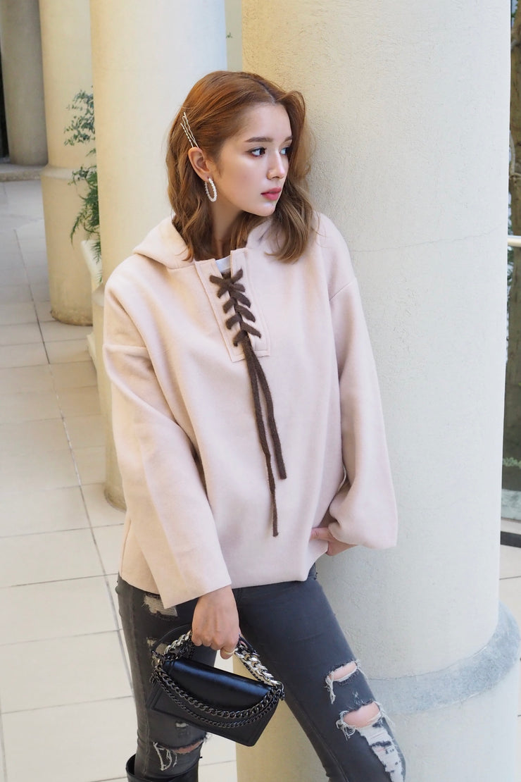 Lace-up hoody tops【brown/beige】