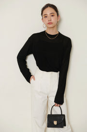 Sheer tops【white/black】