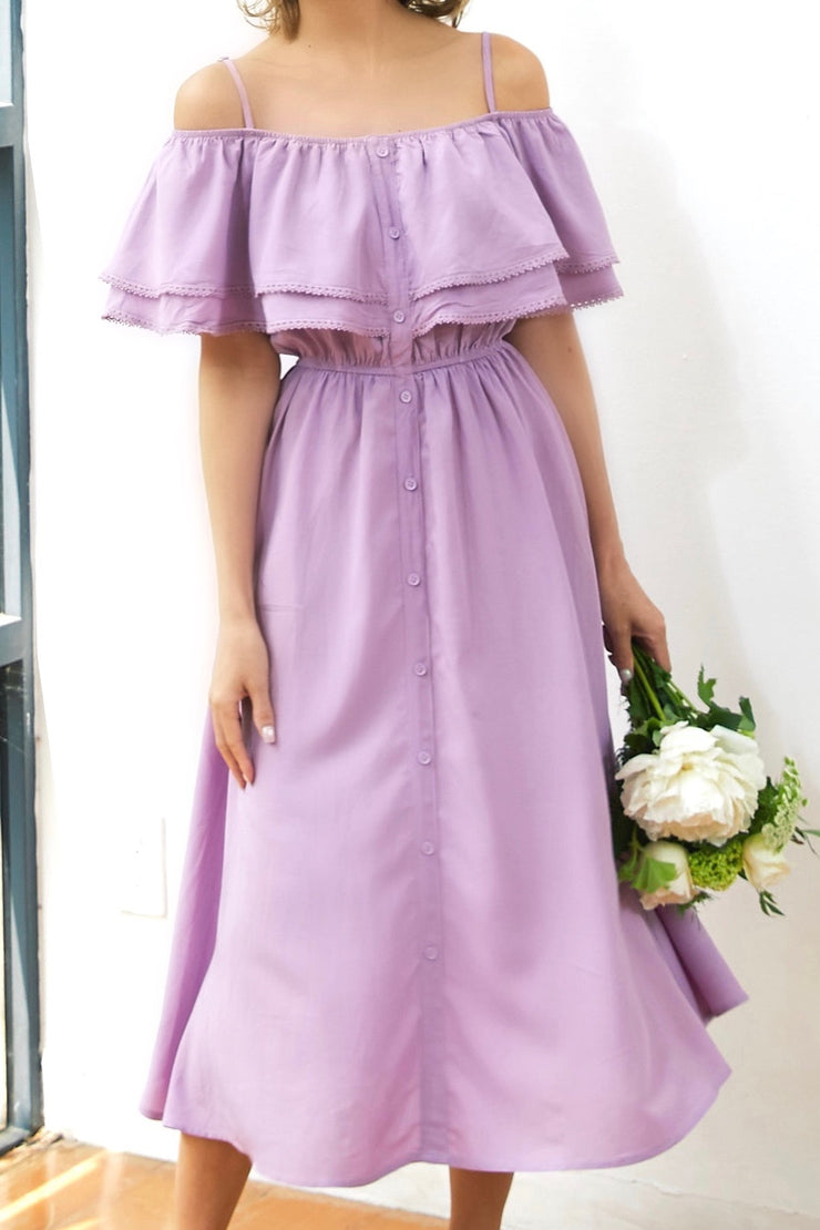 Off-Shoulder Flare Dress【white/black/purple】