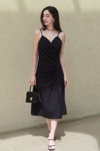 Slit camisole dress【ivory/black】
