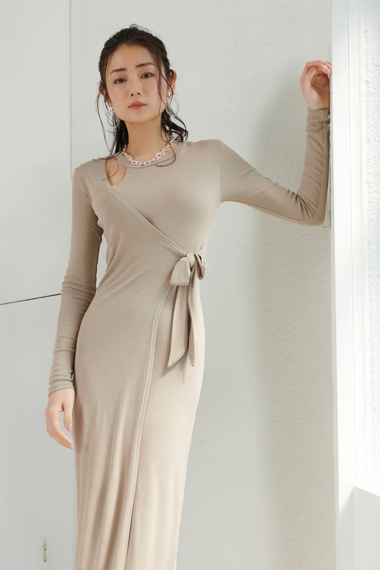 Shoulder open cut-and-sew dress【yellow/beige】