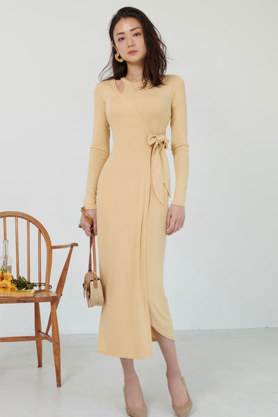 Shoulder-showing cutaway dress【yellow/beige】