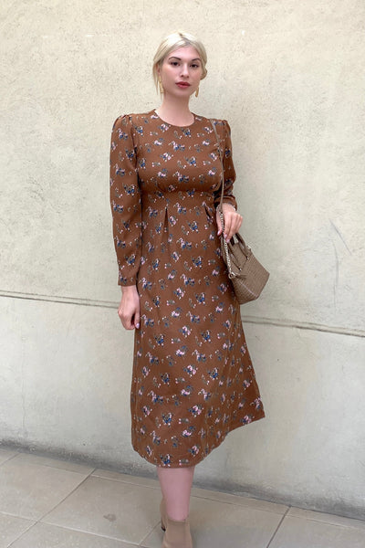 Flower Pattern Dress【Brown/Black】