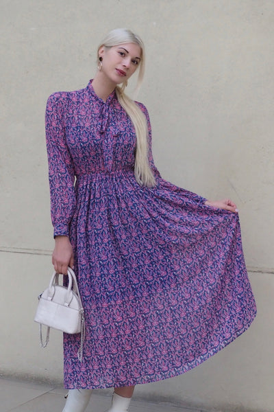 Winter Botanical Pattern Dress【Pink/Black】