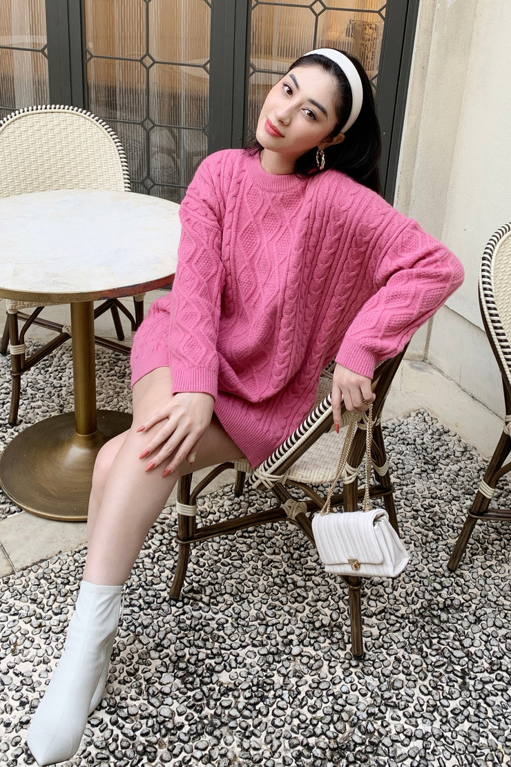 2WAY cable knit dress 【Ivory/Pink】