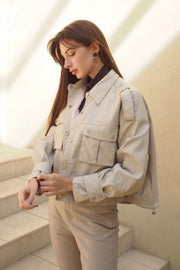 Faux leather oversized jacket【brown/ivory】