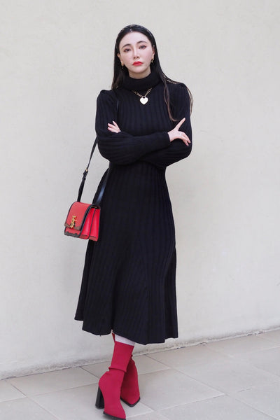 Rib knit flare dress【black/gray】