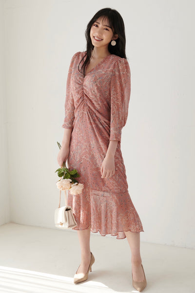 Bloom Flower Dress【pink/black】