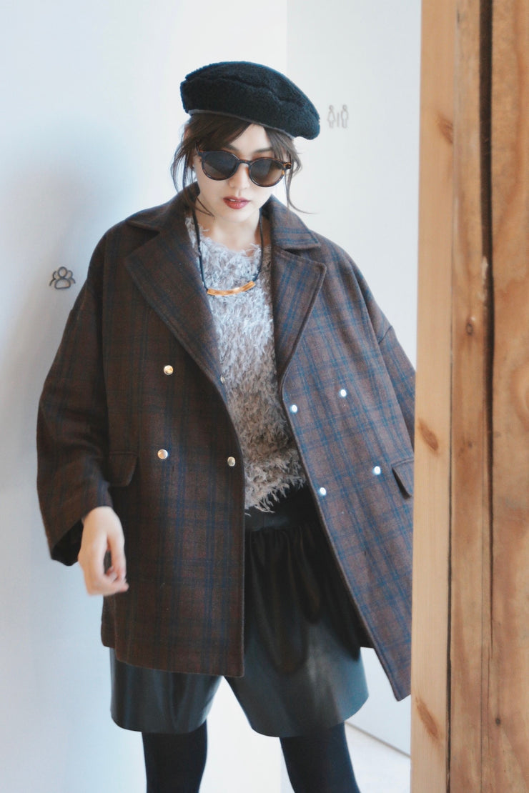 Plaid Oversized Jacket [Red]