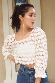 Dot pattern knit top