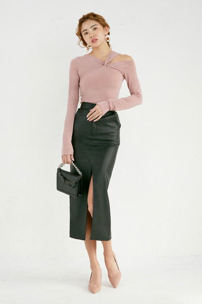 Faux Leather Skirt [black/pink]