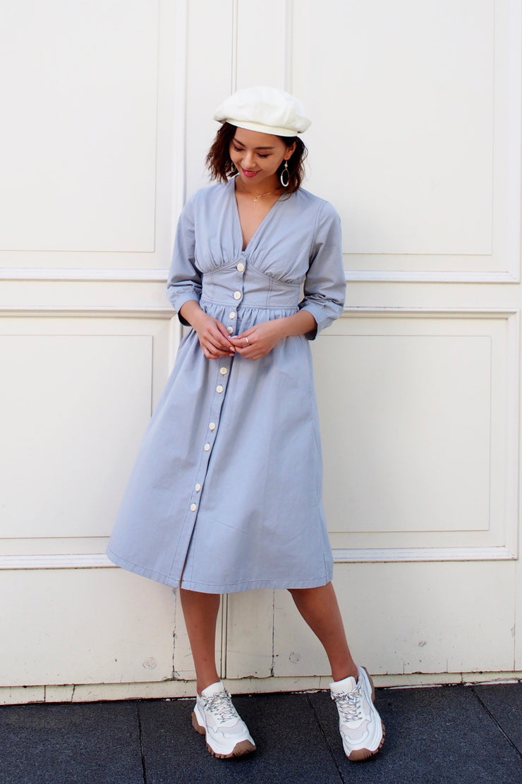 Chino jacket button dress [Blue/Beige]