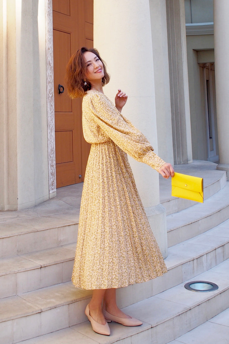 Little flower maxi dress[Yellow / Black]