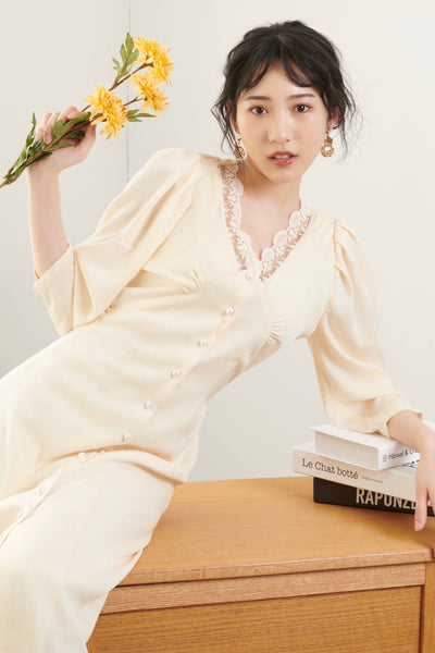 Point Lace Dress【ivory/black】