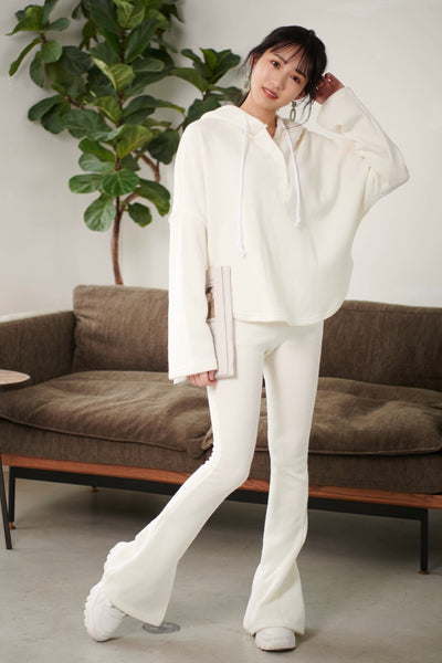 Hoodie with Buttons + Pants SET【white/pink】