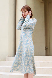Classical flower dress [Beige / Mint]