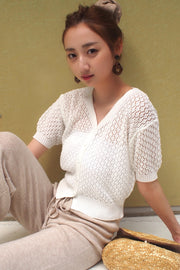 See-Through Knit Tops 【pink/yellow/white/turquoise】