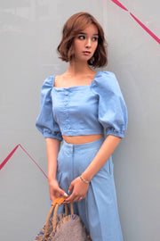 Denim puffy shoulder tops [Denim / Lightblue]