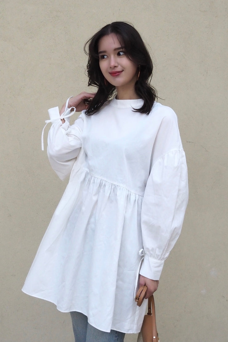 Double ribbon cotton dress【white/black】