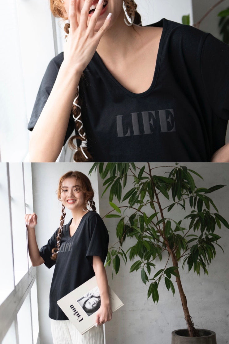 LIFE  T-shirt【black/lime/red】