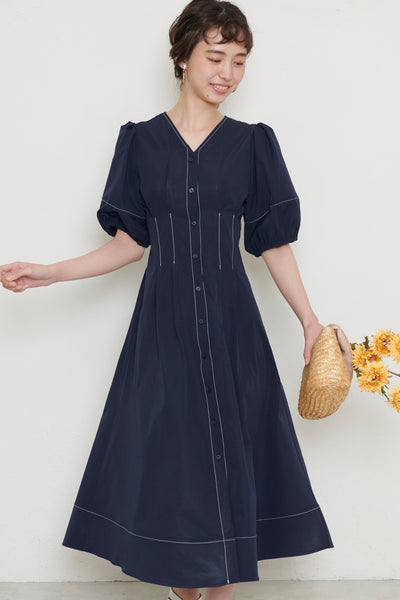 Volume sleeve dress【navy/beige】