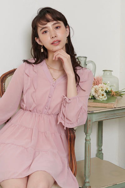 Chiffon mini flare dress【pink/ivory】
