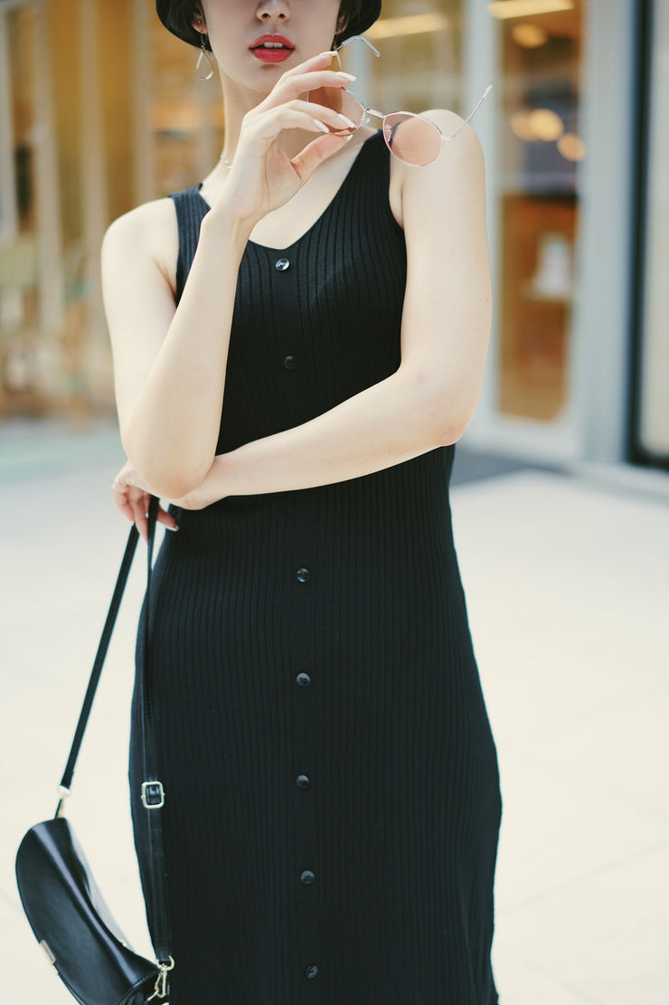 Button Down Knit One-Piece [Black/Ivory]