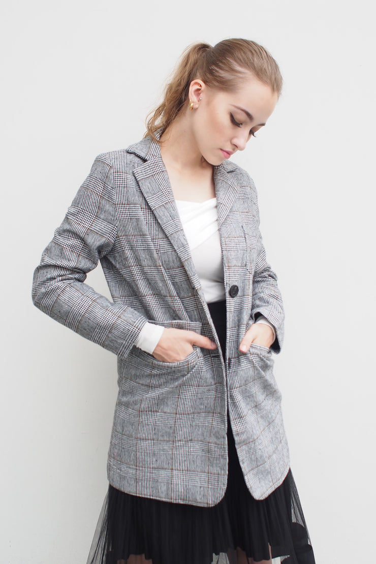 Check Single Jacket [Grey]