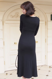 Front design cut-and-sew dress [Black/Beige]