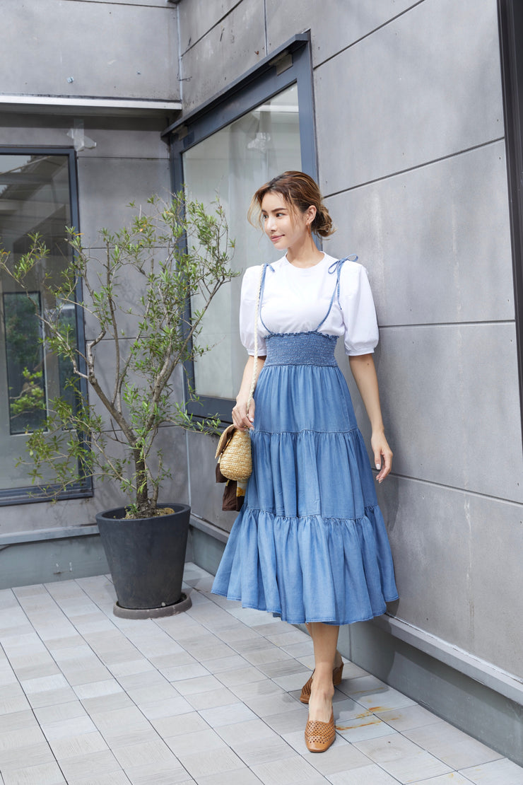 Gathered Denim Dress x Tops SET