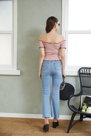 Cut-and-Sew Off Shoulder Tops