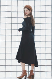 Couple Outfit Side Gather Dress [Black]