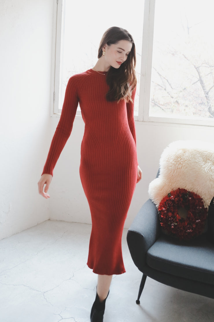 【Saule】Slit Knit Maxi Dress 【RED/BLACK】