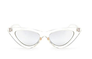 Cat Eye Sunglasses - Clear + Silver