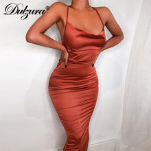 Load image into Gallery viewer, Dulzura neon satin lace up 2019 summer women bodycon long midi dress sleeveless backless elegant party outfits sexy club clothes